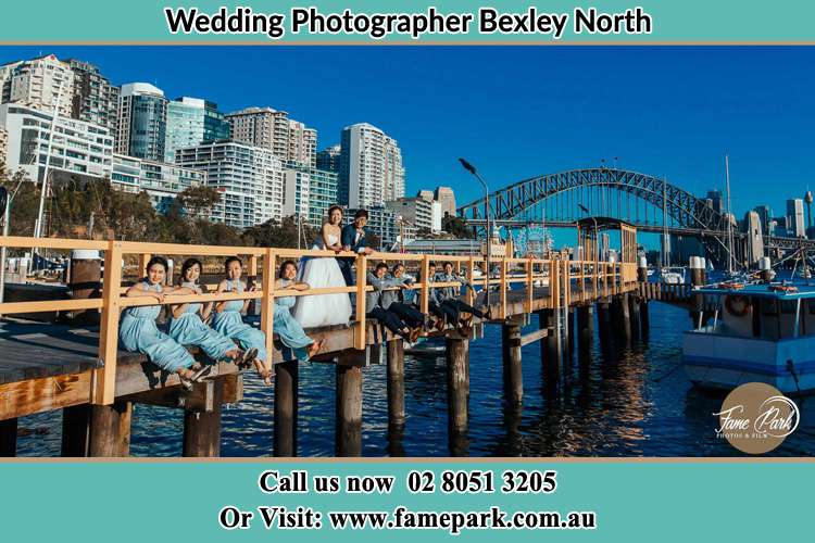 Photo of the Groom and the Bride with the entourage at the bridge Bexley North NSW 2207