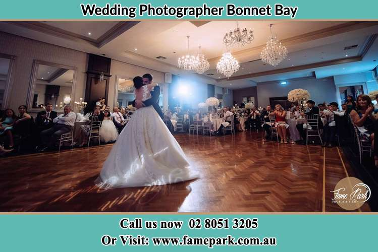 Photo of the Bride and the Groom hugging on the dance floor Bonnet Bay NSW 2226