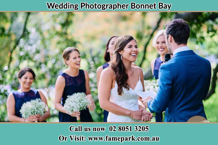 Photo of the Groom testifying love to the Bride Bonnet Bay NSW 2226