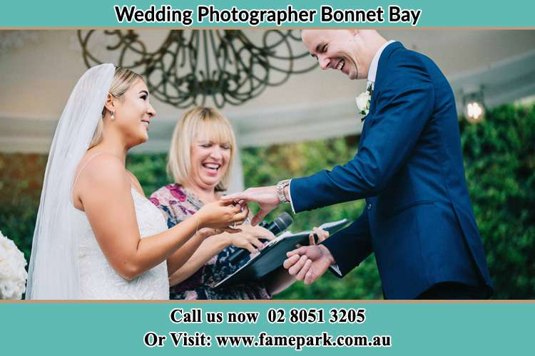 Photo of the Bride wearing ring to the Groom Bonnet Bay NSW 2226