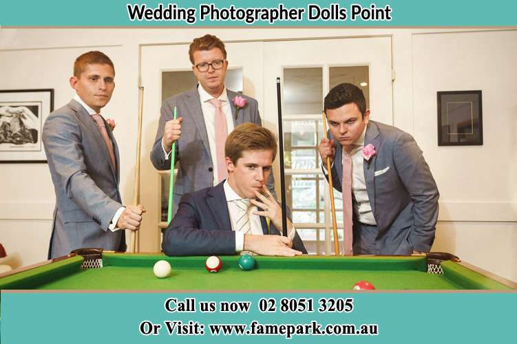 Photo of the Groom and the groomsmen playing billiard Dolls Point NSW 2219
