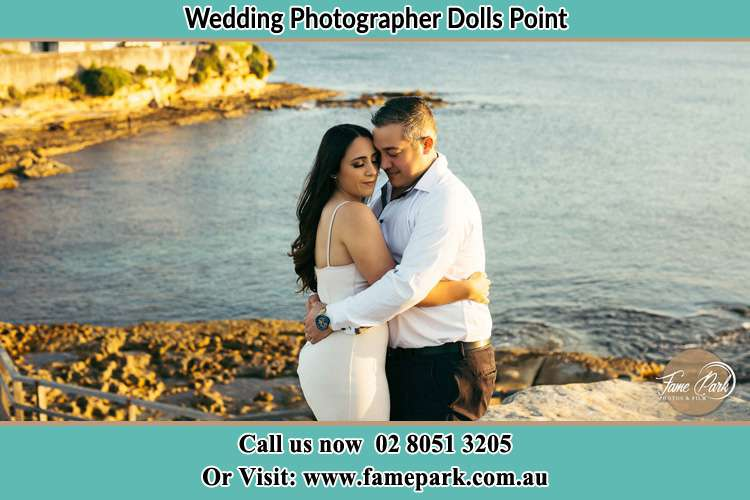 Photo of the Bride and the Groom hugging near the lake Dolls Point NSW 2219