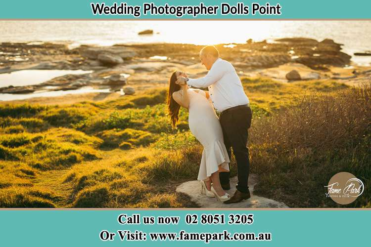 Photo of the Bride and the Groom dancing near the lake Dolls Point NSW 2219