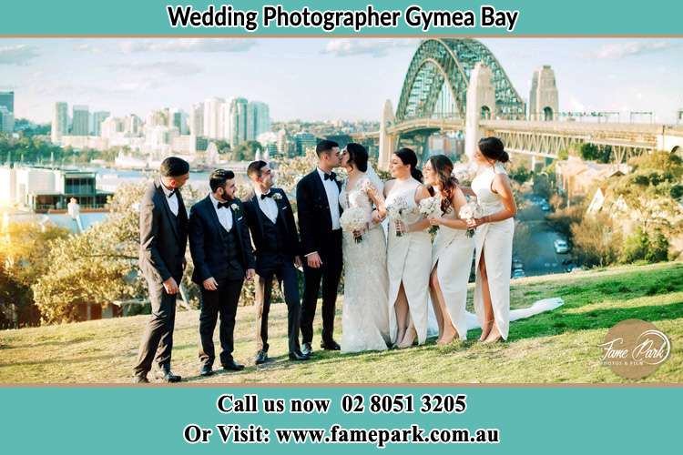 Photo of the Groom and the Bride with the entourage near the bridge Gymea Bay NSW 2227