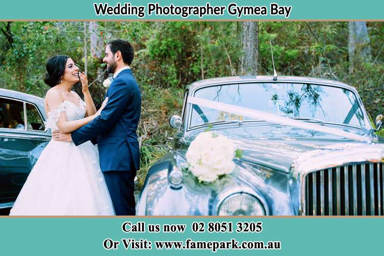 Photo of the Bride and the Groom near the bridal car Gymea Bay NSW 2227