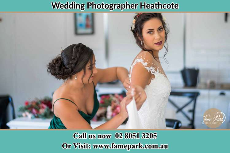 Photo of the Bride and the bridesmaid preparing Heathcote NSW 2233