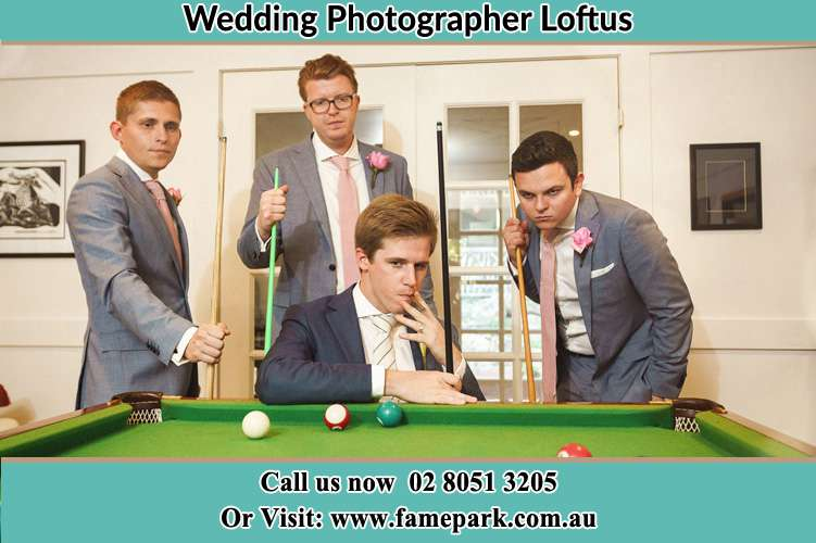 Photo of the Groom and the groomsmen playing billiard Loftus NSW 2232
