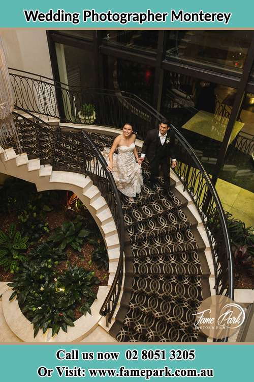 Photo of the Bride and the Groom going down the stair Monterey NSW 2217