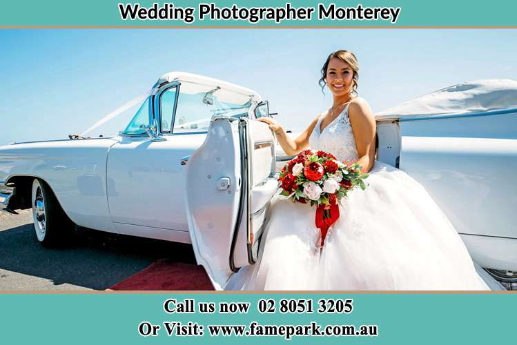 Photo of the Bride outside the bridal car Monterey NSW 2217