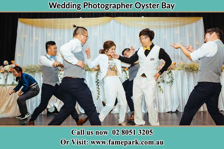 Photo of the Groom and the Bride dancing with the groomsmen Oyster Bay NSW 2225