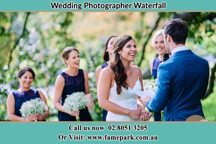 Photo of the Groom testifying love to the Bride Waterfall NSW 2233