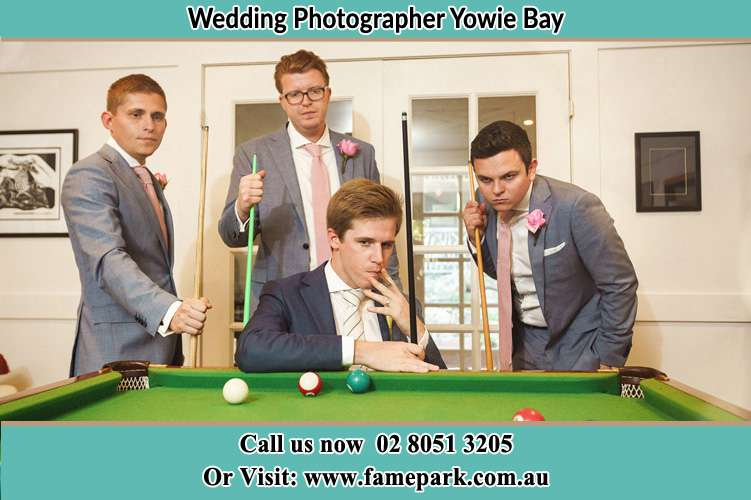 Photo of the Groom and the groomsmen playing billiard Yowie Bay NSW 2228