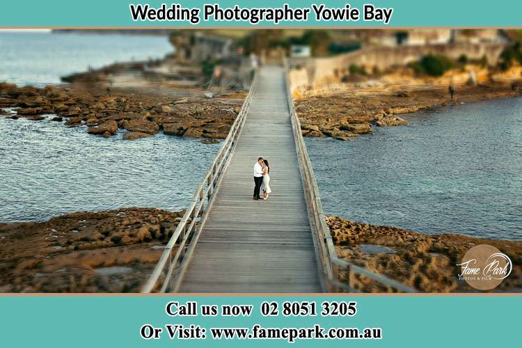 Photo of the Groom and the Bride at the bridge Yowie Bay NSW 2228